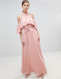 Read more about Little mistress belted maxi dress with frill overlay