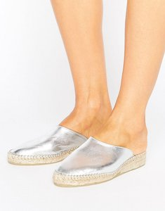 Read more about Park lane leather metallic mule espadrille shoe - silver leather