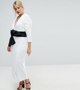 Read more about Asos curve deep plunge origami bow front maxi dress - ivory