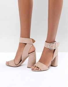 Read more about Asos design hold tight heeled sandals - nude