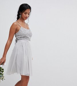 Read more about Maya petite cami strap sequin top tulle detail mini bridesmaid dress - micro chip
