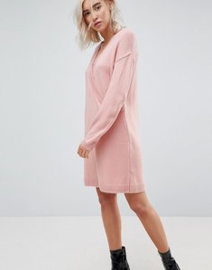 Read more about Asos chunky knitted dress with wrap detail - nude
