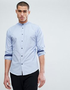 Read more about Selected homme slim shirt in mini grid print with contrast buttons and china collar - light blue