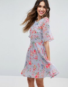 Read more about Asos premium pretty floral print skater dress with embroidery - multi