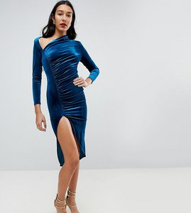 Read more about John zack tall velvet ruched midi dress with slash neck detail - blue teal