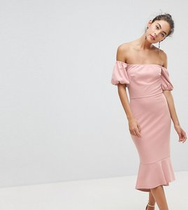 Read more about Silver bloom puff sleeve bardot dress with pephem - dusky pink