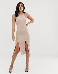 Read more about Vesper double thigh split midi dress - champagne