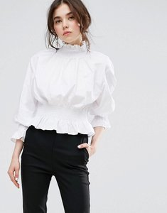 Read more about Plain studios high neck top with shirring - white