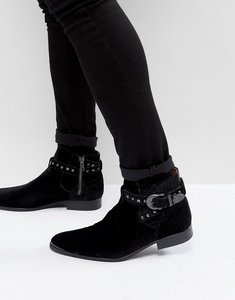 Read more about House of hounds axel embossed velvet buckle boots in black - black