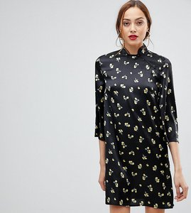Read more about Influence tall shift dress with mandarin collar detail in satin buttercup floral - black