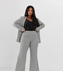Read more about Unique21 hero plus flared trousers in monogram print co-ord