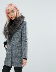 Read more about New look faux fur shawl collar tailored coat - black pattern