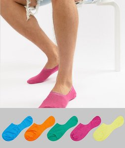Read more about Asos design invisible liner socks in brights 5 pack save - multi