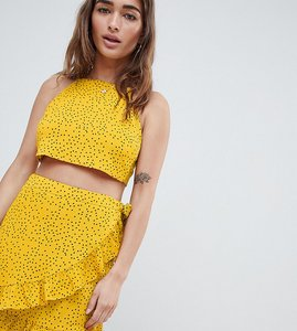 Read more about Glamorous petite high neck crop top with tie back in ditsy spot co-ord - yellow spot