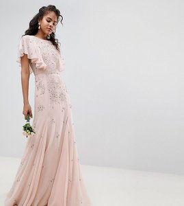 Read more about Asos design tall delicate embellished bridesmaids maxi dress with angel sleeve - blush