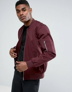 Read more about Asos design bomber jacket with sleeve zip in burgundy - burgundy