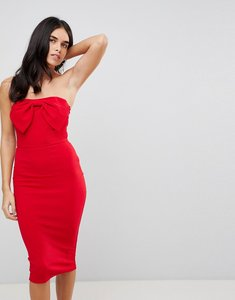 Read more about Ax paris bow front midi bodycon dress - red