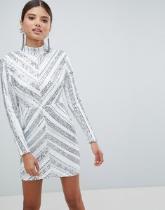 Read more about Girl in mind sequin long sleeve mini dress - silver