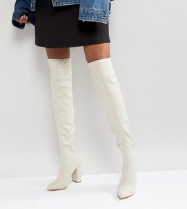 Read more about Missguided pointed neoprene over the knee heeled boots - white