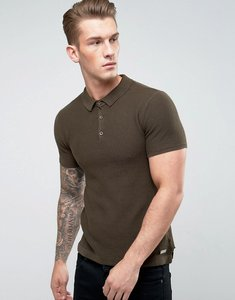 Read more about Brave soul knitted textured polo shirt - green