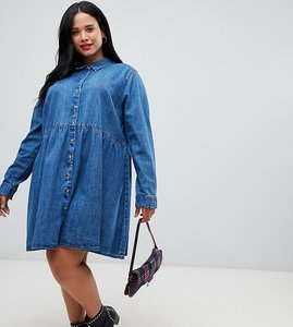 a74a22f2a95 Read more about Asos design curve denim smock shirt dress in midwash blue -  blue