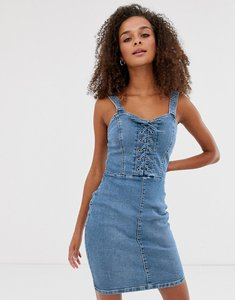 Read more about New look bodycon dress with lace up in denim
