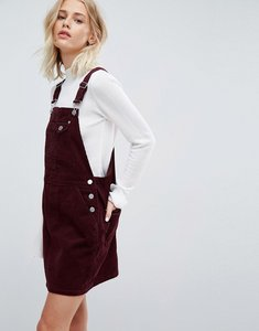 Read more about Asos cord dungaree dress in oxblood - oxblood