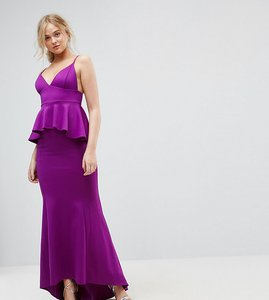 Read more about City goddess tall peplum fishtail maxi dress - royal purple
