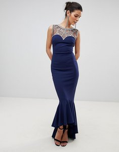 Read more about City goddess embellished fishtail maxi dress - navy
