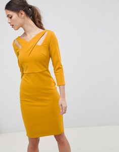 Read more about City goddess cross over midi dress - mustard