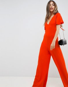 Read more about Asos design jumpsuit with flutter sleeve and tie back - orange