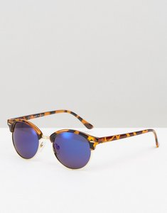 Read more about Asos round polarised lens sunglasses with flash lens - tort