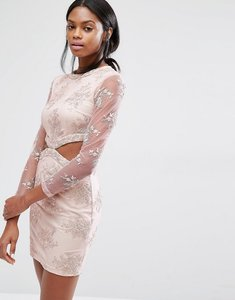 Read more about Missguided floral lace cut out mini dress - pink