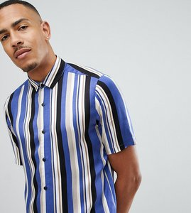 Read more about Asos design tall regular fit stripe shirt - blue
