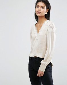 Read more about Asos satin blouse with lace insert - champagne