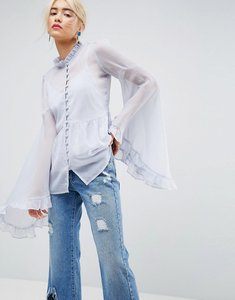 Read more about Asos kimono sleeve blouse in chiffon - pale blue