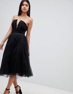 Read more about Rare london plunge midi tutu dress - black
