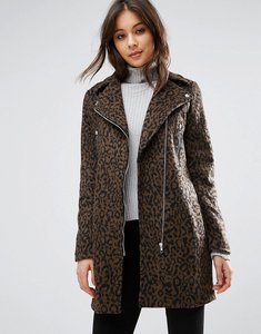 Read more about Missguided wool mix leopard biker jacket - multi