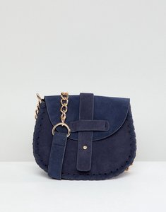 Read more about Yoki fashion saddle bag with woven trim in navy - navy