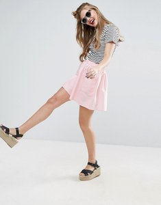 Read more about Asos mini skater skirt in cotton poplin with pockets - pink