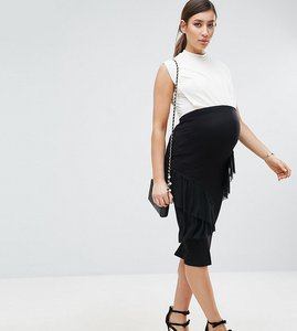 Read more about Asos maternity over the bump ruffle bodycon skirt - black