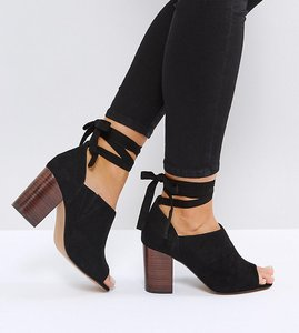 Read more about Asos omen wide fit tie leg heeled shoes - black