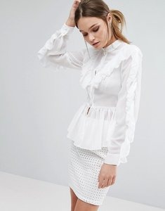 Read more about True decadence ruffle detail long sleeve blouse - white