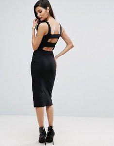 Read more about Asos strap back pinny bodycon midi dress - black