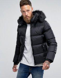 Read more about Schott puffer jacket detachable hood faux fur trim slim fit in black black - black black fur