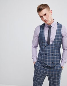 Read more about Asos design wedding skinny suit waistcoat in blue and white check - blue