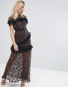 Read more about Stevie may velvet applique mesh maxi dress with contrast pleat frills - mauve black