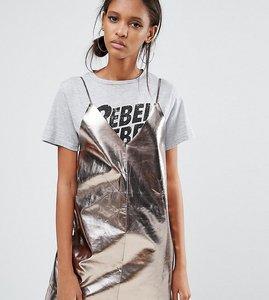 Read more about Daisy street tall pu cami mini slip dress - metallic