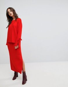 Read more about Warehouse knitted midi skirt - red