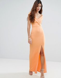 Read more about Club l bardot crepe detail maxi dress with front split - apricot wash